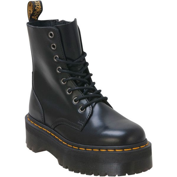 Dr Martens Women's Dr. Martens Jadon Black Lace-Up Boot ($170) ❤ liked on Polyvore featuring shoes, boots, dr. martens, black, dr martens boots, slip on boots, military boots, military lace up boots and black combat boots