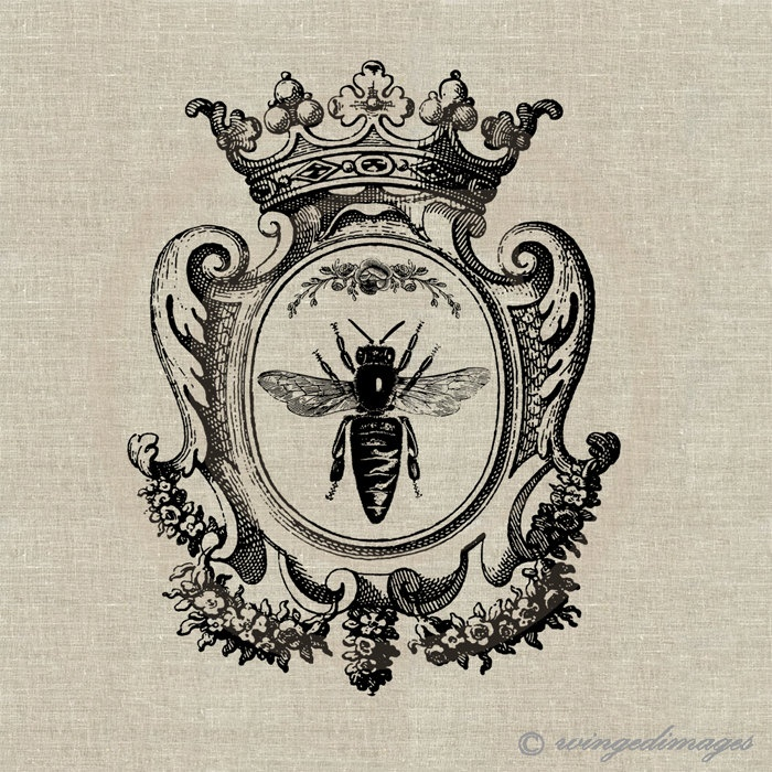 Queen Bee. Image No.73, Digital Download Iron-On Transfer to Fabric (burlap, linen) Paper Prints (cards, tags). $1.00, via Etsy.