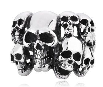 Cheap 316L Stainless Steel Mens Ten Skulls Ring for Sale