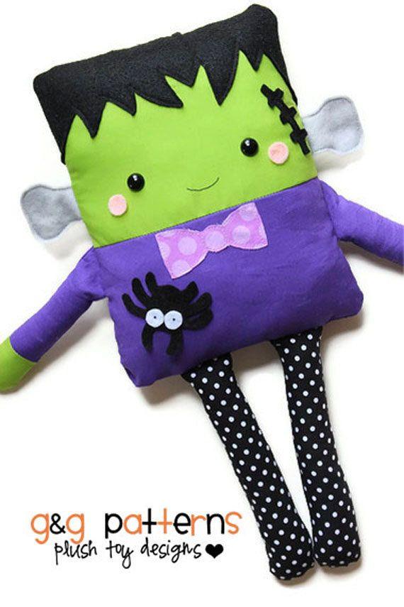 Halloween Sewing Pattern Toy Frankenstein Doll by GandGPatterns