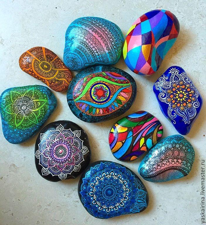 """Камни """" Расписные"""" - разноцветный,камни,роспись по камню,акриловая роспись"""