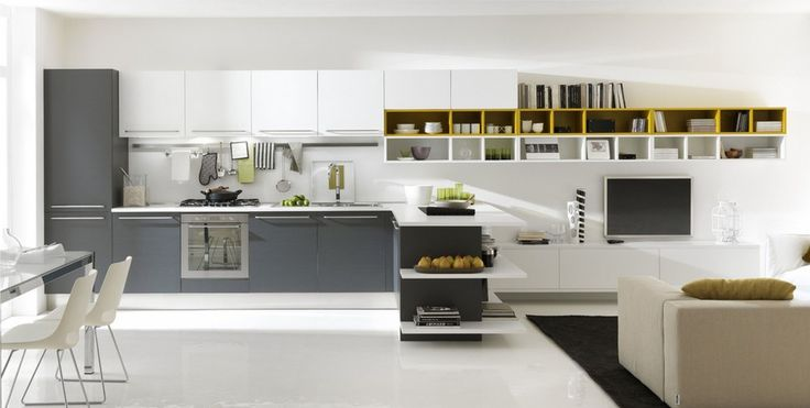 Kitchen:Stunning Trandy Simple Kitchen Interior Design With Modern Kitchen Ideas Come Also Yellow Wall Mounted Shelf And White Marble Countertop Besides White  Dark Gray Stained Wooden L Shaped Kitchen Cabinet   Sophisticated Trendy Simple Kitchen Furniture