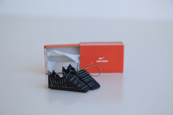 Matchbox project. Self Promotion. I used my interest of #sneakers to make my own out of  card and stitched them.