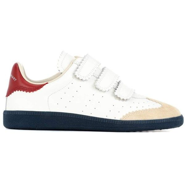 Isabel Marant Beth Leather Sneakers ($405) ❤ liked on Polyvore featuring shoes, sneakers, white trainers, white shoes, isabel marant sneakers, leather sneakers and isabel marant trainers
