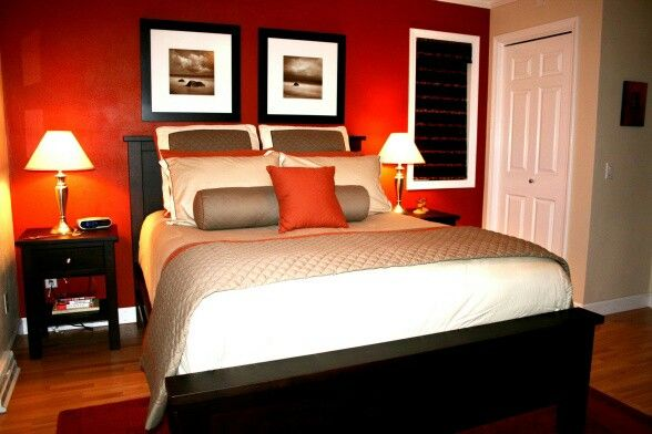 Master Bedroom Red Accent Wall