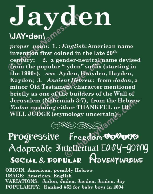 JAYDEN Personalized Name Print Typography Detailed Definitions Numerology Calculated Destiny