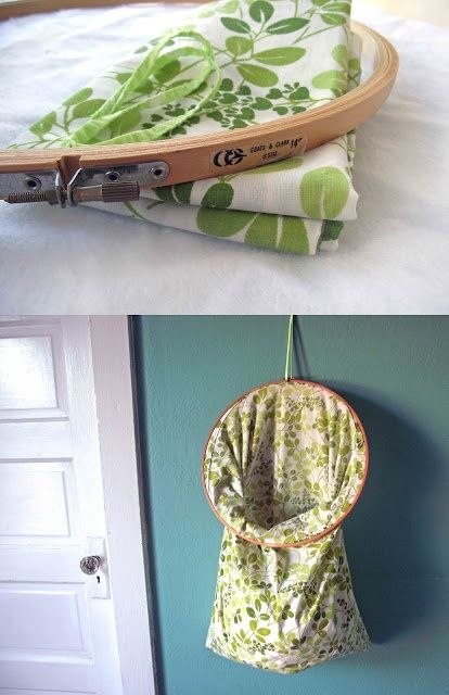 Vintage embroidery hoop and pillow case repurposed into hanging storage.