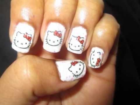 Hello Kitty Nail Art Design Tutorial