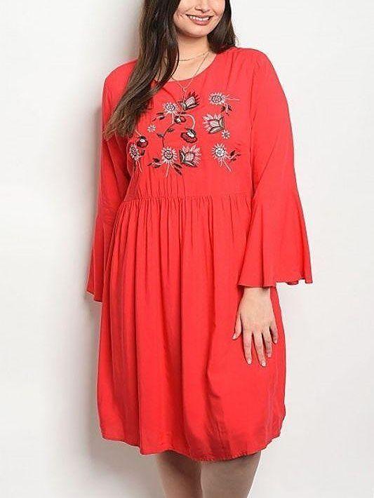 bdda87feda172 Boho Red Floral Embroidered Tunic Dress