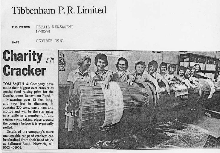 Tom Smith news item from 1981 - Biggest Ever Charity Cracker