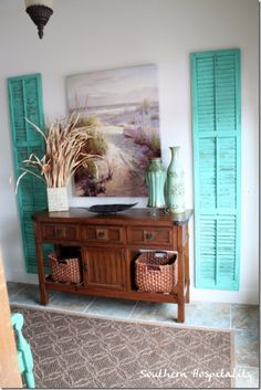 Fall in love with these DIY Ideas for Your Entry - Repurposed Shutters Entryway Wall Decor