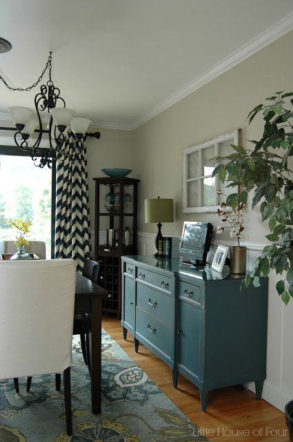 Updated dining room with Sherwin Williams Iron or and Accessible Beige.