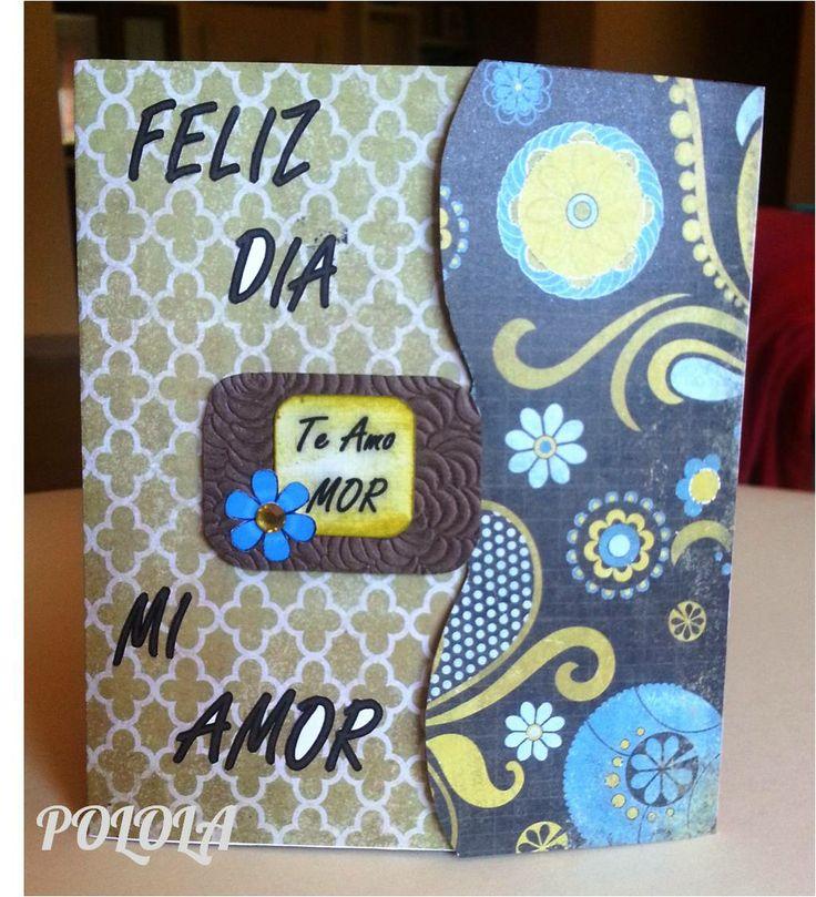 Tarjeta de Amor para san valentin. Hecha a mano. Tamaño: cerrada 5,5¨x4¨ abierta 5,5¨x8¨ Ref: tcesv04
