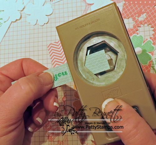 How to make and easy flag on your stamped card projects with the Hexagon punch