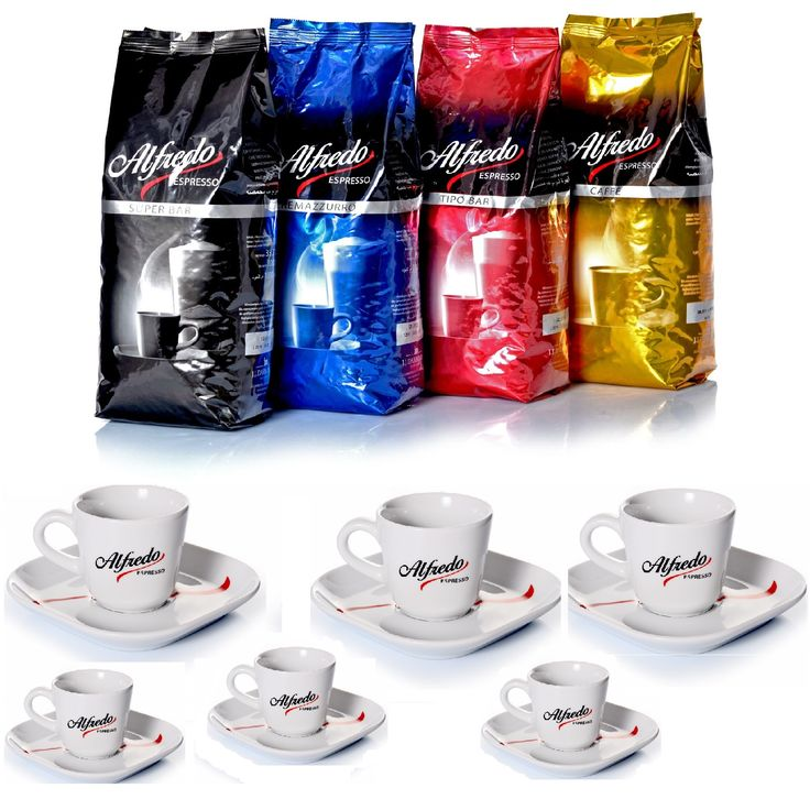 Alfredo Café Espresso je Kaffeesorte 2 Beutel mit je 1000g Espressobohnen. Zu  diesem Kaffeetest erhalten Sie ein kleines Dankeschön,  im normalen Handel nicht zu bekommen. Das neue Spitzen Kaffee Geschirr, Porzellan aus Kahla in Thüringen  6 Alfredo Cappuccino Tassen inklusive der Obertassen im neuen Kaffee Design von Alfredo. Genießen