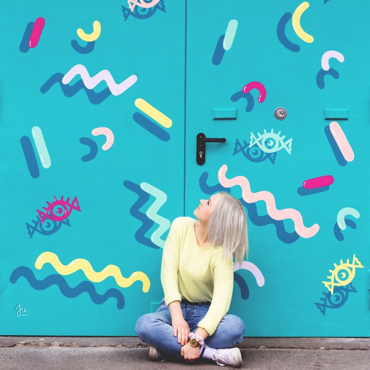 Colorful pattern door mural for a Berlin based photography studio Eyecandy.