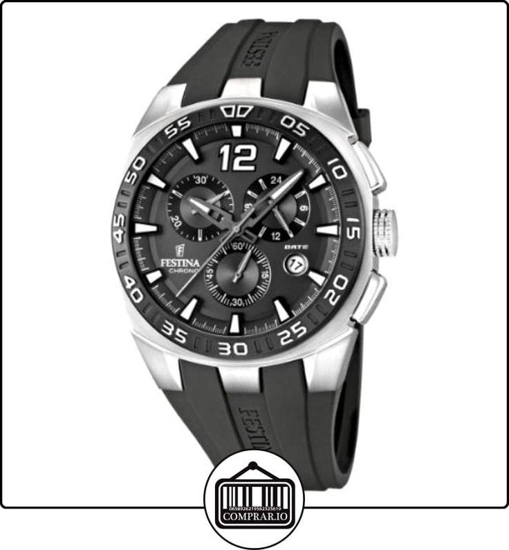 Festina F16668/5 - Reloj cronógrafo de cuarzo para hombre con correa de caucho, color gris de  ✿ Relojes para hombre - (Gama media/alta) ✿