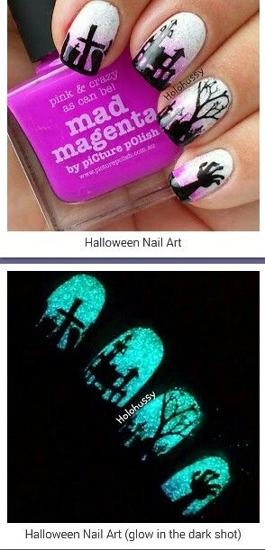 Halloween graveyard nail art including glow in the dark polish
