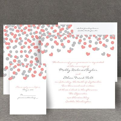 beautiful coral pink and grey heart confetti invitation