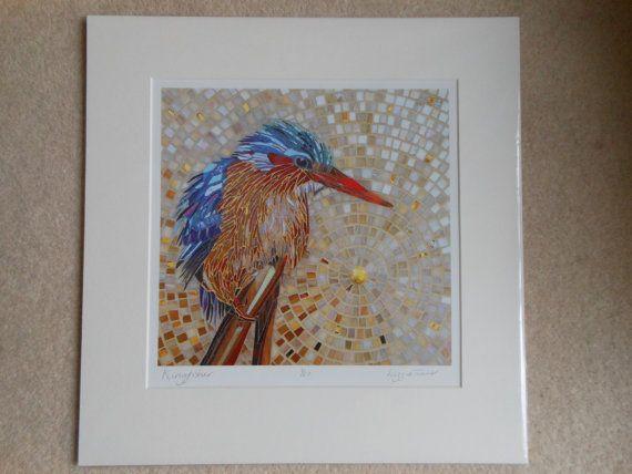 Mosaico de Martín pescador Malaquita  impresión de Giclee con