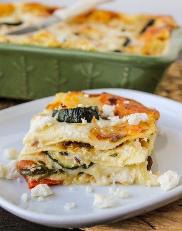 Poblano, Corn, and Zucchini Lasagna @foodcharlatan