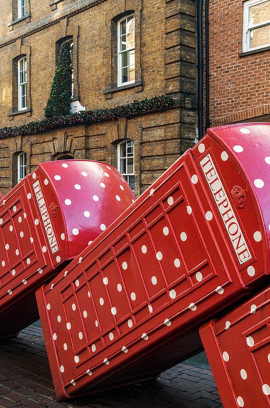 Out of Order by David Marsh is a permanent art display in Kingston. The white spots are to celebrate Christmas.