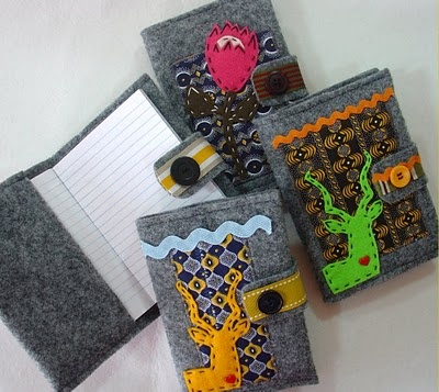 Love these notebook covers!  The felt and Shweshwe combo looks great