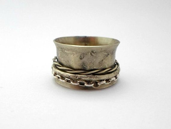 spinner ring Meditation Ringoxidized and hammered by AbyCraft