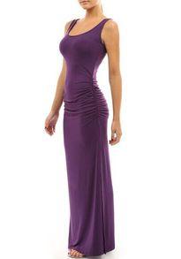 Purple Scoop Neck Slim Maxi Tank Dress