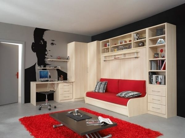 modern teen room furniture ideas murphy sofa bed shelves desk red carpet  low coffee table. 15 Must see Modern Teen Room Pins   Teen room colors  Teen bedroom