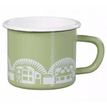Wild and Wolf Enamelware Mug, British Lichen: This enamelware range is inspired by their personal collection of mid-century Scandinavian cookware. It follows in the tradition of combining great colour and pattern with quality and practicality.