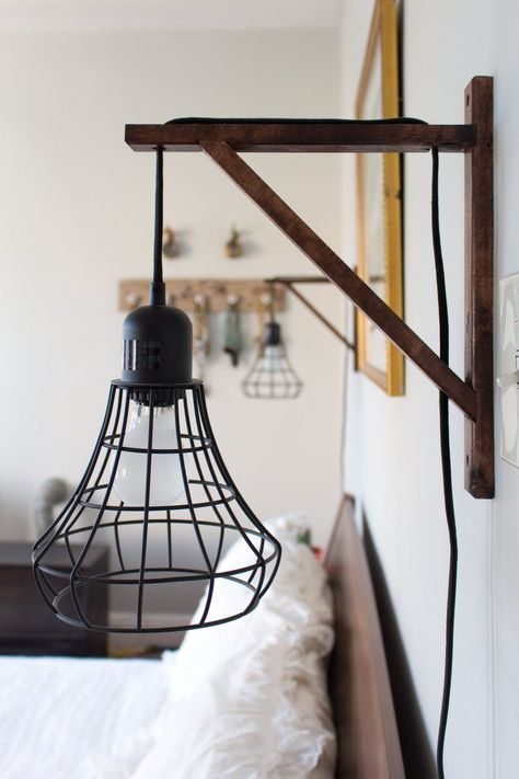 Ikea pendant light wired through wooden support... Taylor & Alana's Carefully Crafted Hoboken Apartment