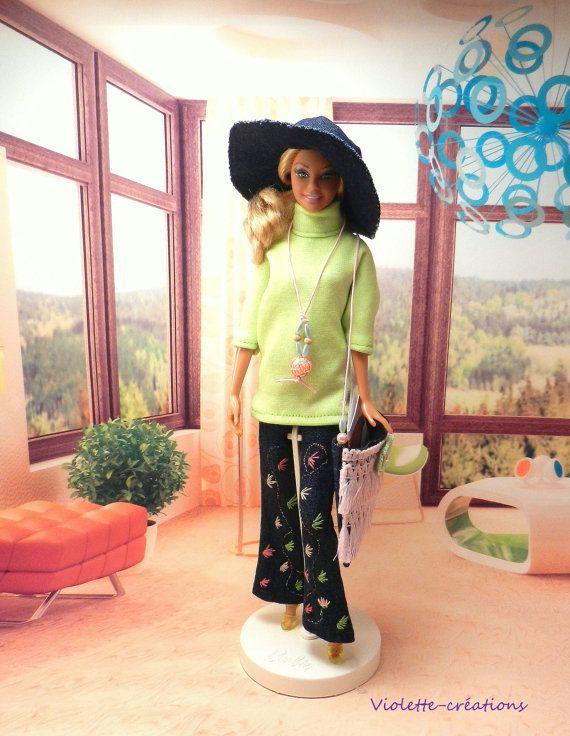 Tenue ou déguisement Année 70 pour poupée barbie par violette55