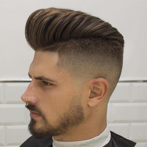 Hohe Fade Pompadour Frisur Best Hair Style Men Herrenfrisuren Haarschnitt Sportliche Frisuren