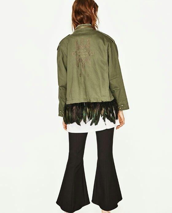 Zara .com militar jacket with feathers chaqueta militar con plumas