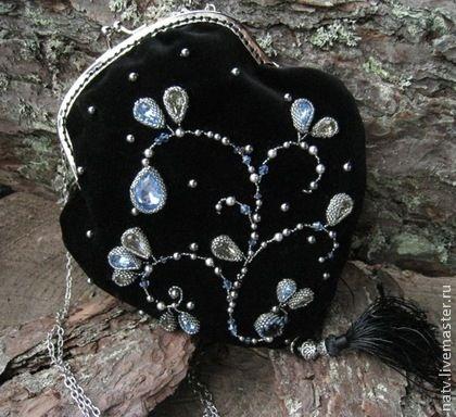 Топаз - чёрный,бархат,swarovski,хрустальный жемчуг,хрустальные бусины