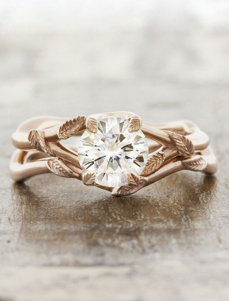 leaf prong organic shaped diamond engagement ring, rose gold