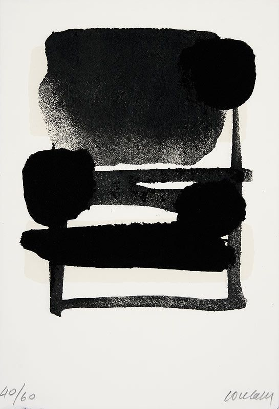 gacougnol: Pierre SoulagesSerigraphie N° 6 1975/76 Screen printing in Black & Beige on rag paper