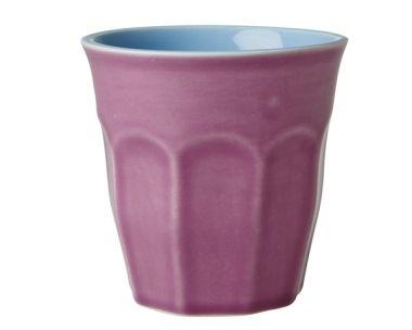 Große Keramik-Tasse in Lila und Pastell-Blau von Rice