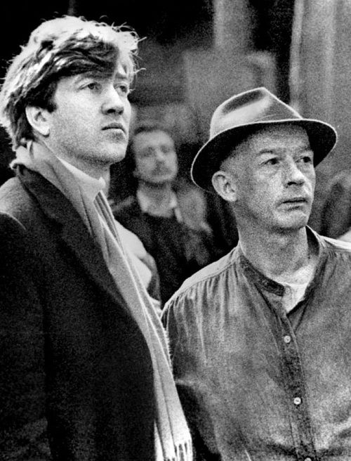 David Lynch & John Hurt (who plays John Merrick) on the set of The Elephant Man