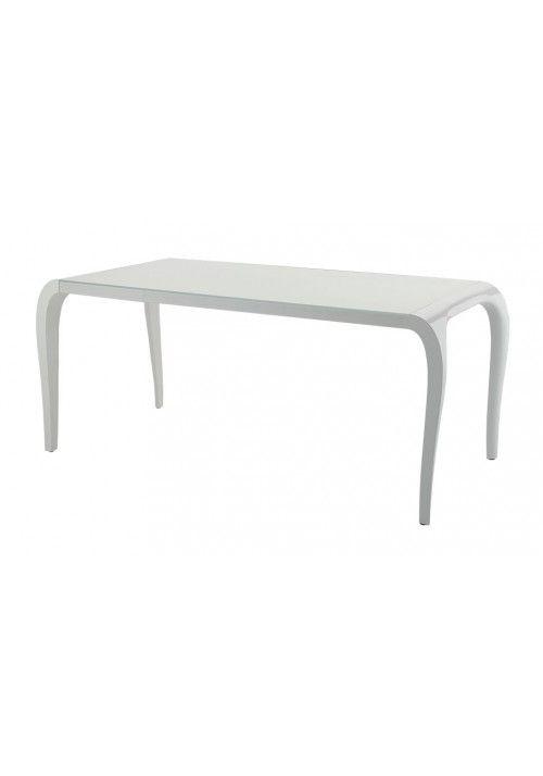 Tavolo design Sedit Artù è un tavolo allungabile con linee morbide che abbina eleganza, funzionalità e tecnologia. Gambe laccato bianco lucido, piano in vetro bianco extralight Dimensione: 85x200 cm