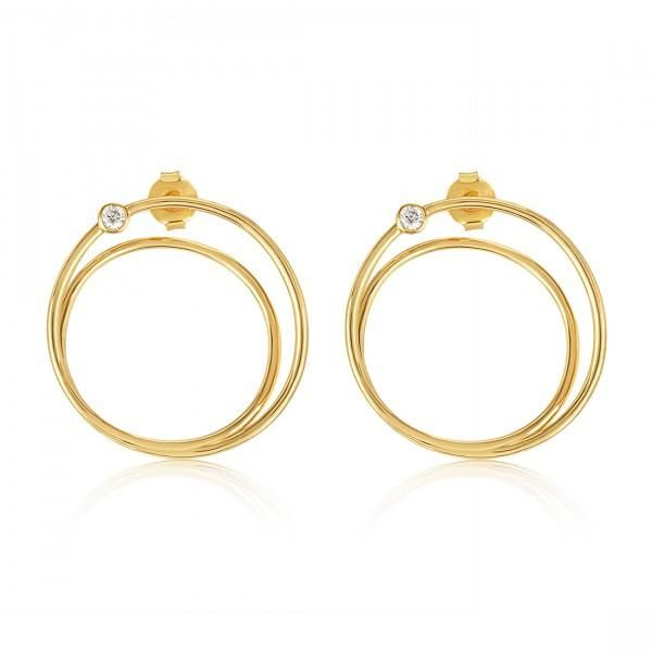 """Melinda Maria """"Structured Lobe Link"""" earrings with white CZ"""