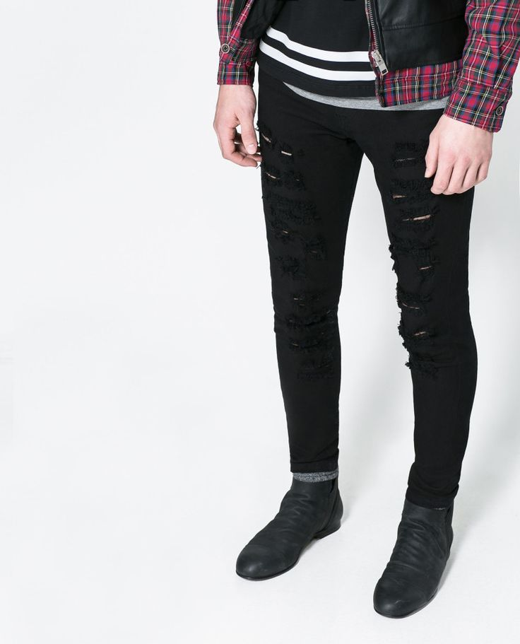 Black Mens Ripped Jeans