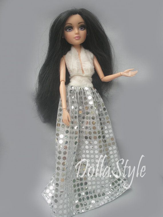 HandMade Moxie Teenz Clothes Doll Dress silver for by DollaStyle