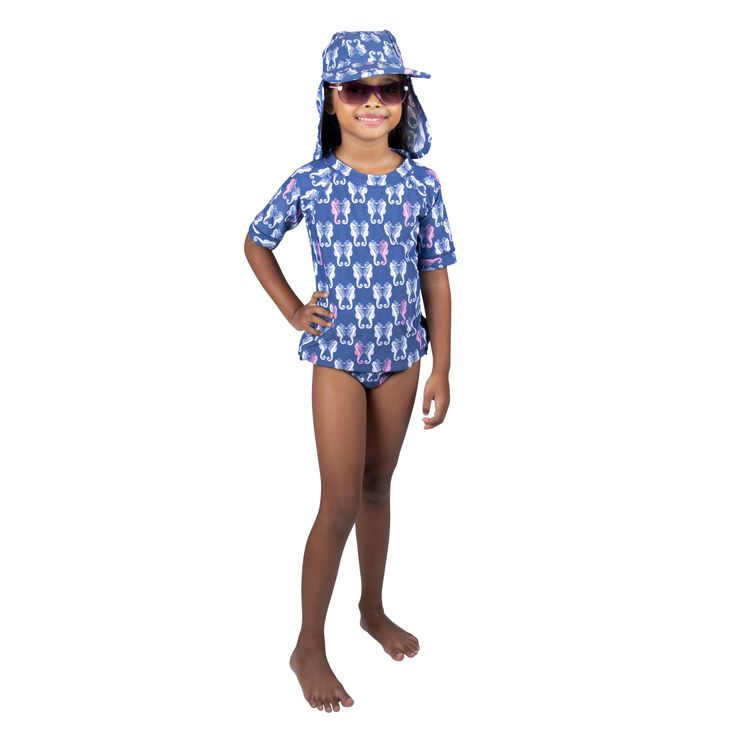 Frolik Seahorse ensemble - Sun Hat, Rash Vest and Pants. Available at www.frolikbeachstyle.com in sizes 2-3, 4-5, 6-7 and 8-9yrs.