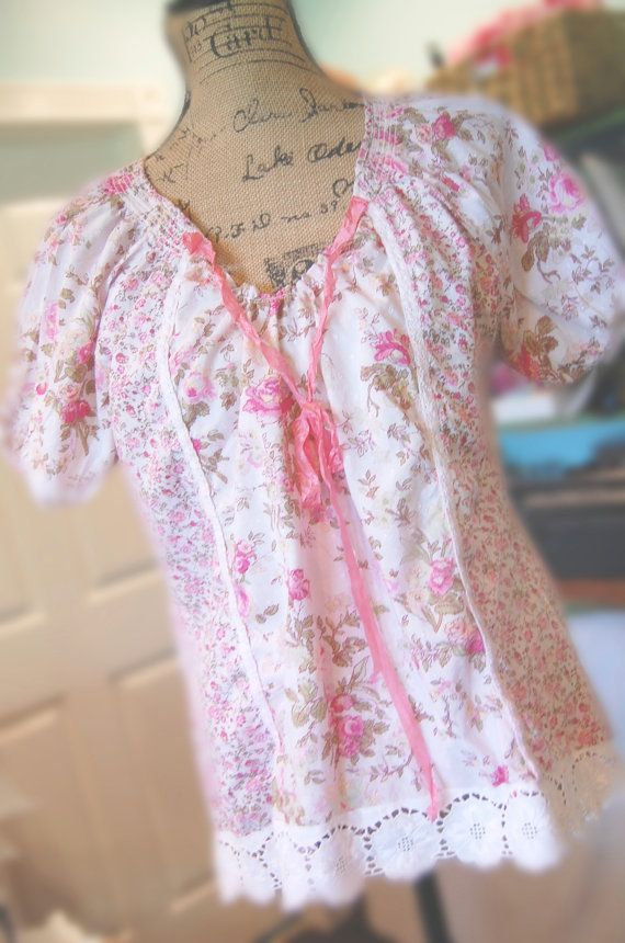 Cotton Floral Peasant Top Altered Pink Flowers Vintage Eyelet Womens Clothing Large Shabby Chic Lagenlook Mori Girl Relaxed Farmgirl on Etsy, $39.50
