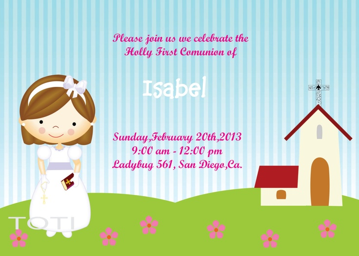 First Communion Invitation by TOTI67 on Etsy