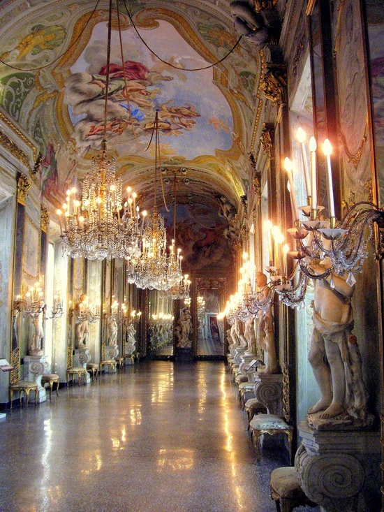 Hall of Mirrors Genoa, Italy. The Hall of Mirrors is perhaps the most impressive room on display in the Palazzo  Reale. Liguria