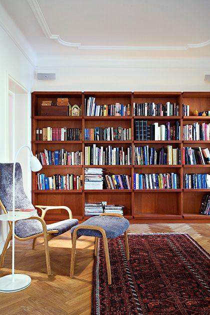 Mahogany bookshelves