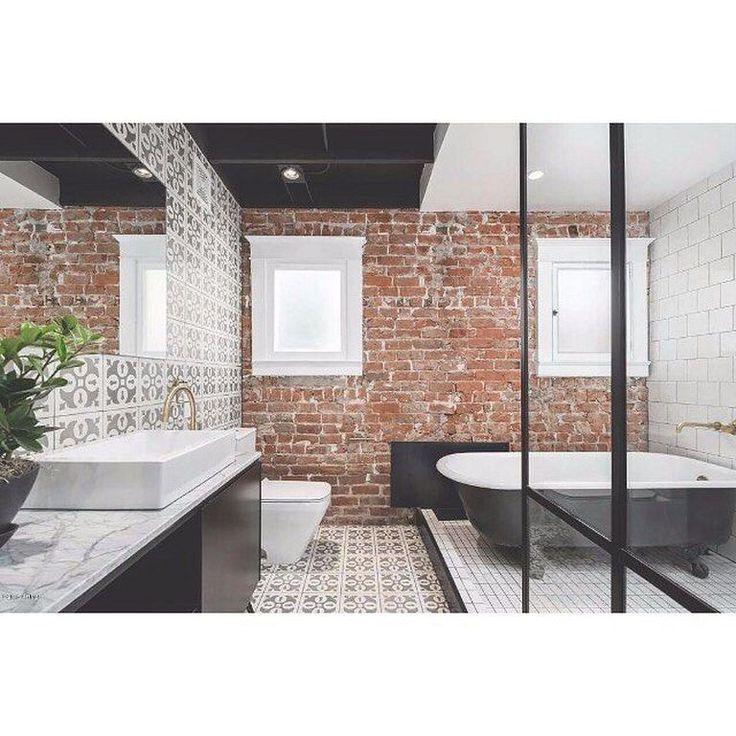 20 modern bathroom interior design ideas with brick wall